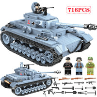 716 PCS Technik Military Tank Building Blocks Compatible Legoed Army City WW2 Soldier Police Weapon Bricks Sets Boys Toys