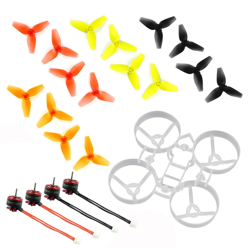 Indoor FPV Racing Drone Quadcopter Parts 75mm Bwhoop75 Brushless Whoop Frame with 40mm CW CCW 3-Blade Propeller SE0703 KV15000 1 high quality 1pair gemfan 1045 nylon propeller blade cw ccw for rc fpv quadcopter rc racing drone frame spare parts diy