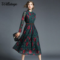 Willstage Floral Lace Dress Party Elegant Long Sleeve Waist Slim Mid Dresses Women Vintage High quality Patchwork Spring Vestido
