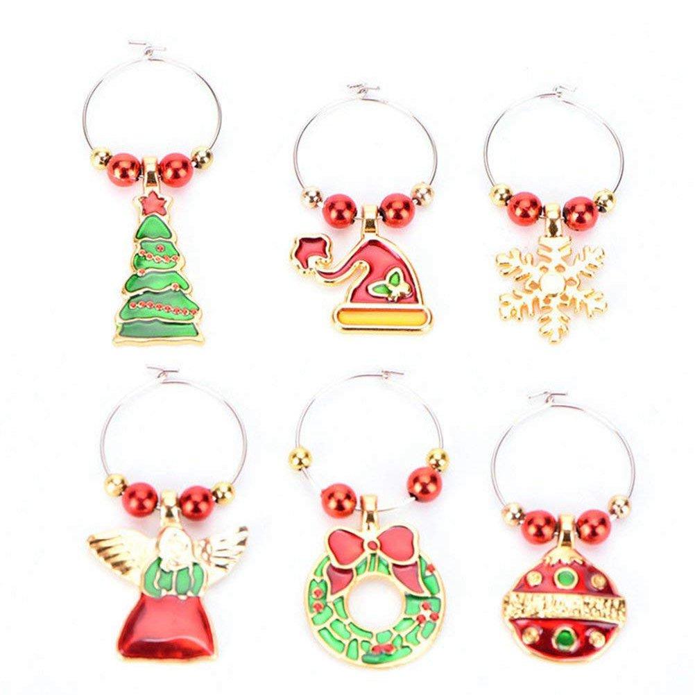 Helder 6 Pack Chirstmas Wijnglas Charmes Ringen Wijnglas Markers Voor Xmas Party Bar Tafel Decoraties