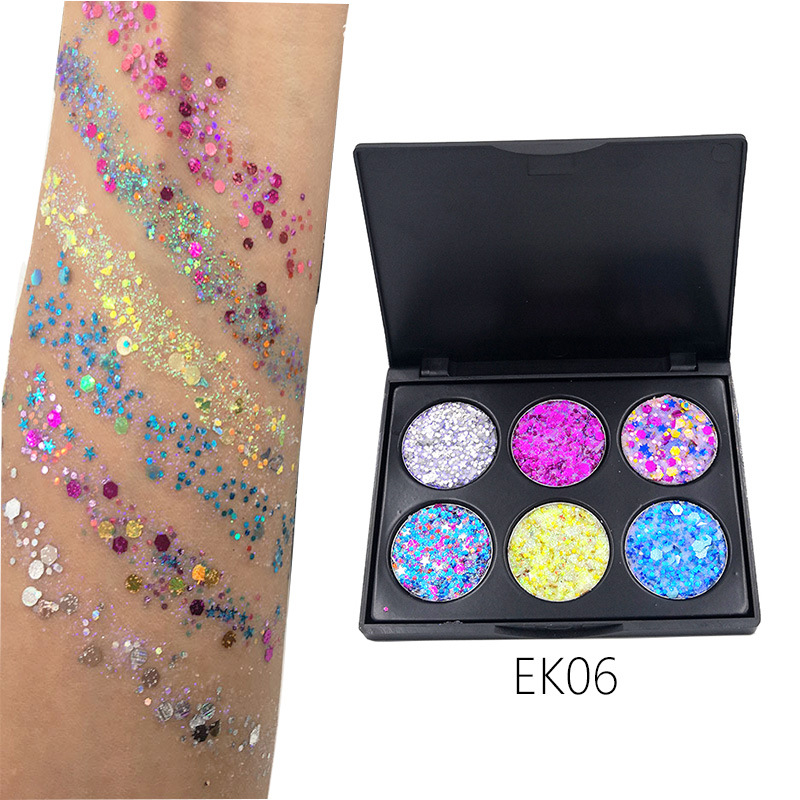 Eye Shadow Beauty Essentials 6 Color Glitter Makeup Eyeshadow Palette Children Stage Festival Party Makeup Shimmer Sequins Glitter Eye Shadow Palette Tslm1