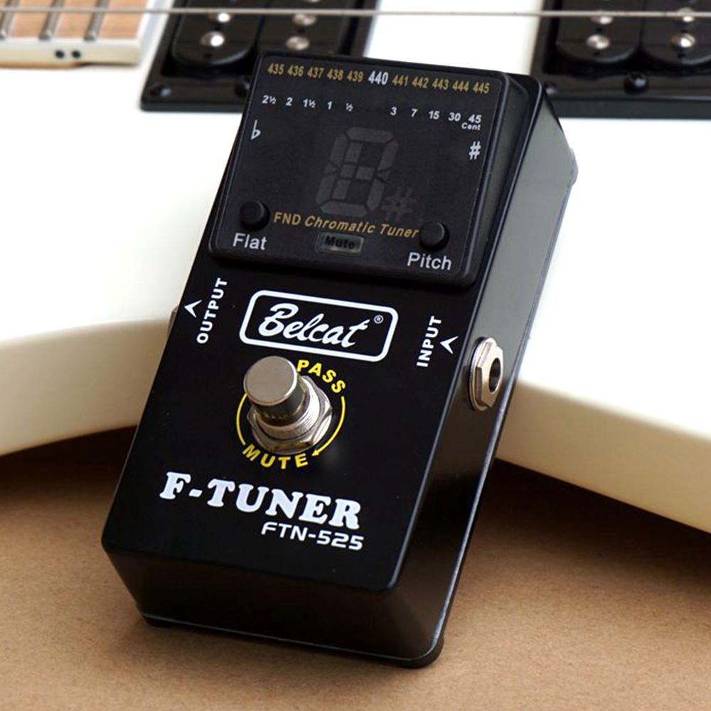 Belcat F TUNER Guitar Effect Pedal Tuner Stompbox for Electric Guitar Bass FND LED Display Flet