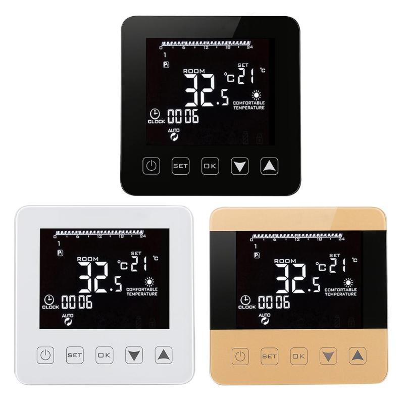 Wireless Wifi Programmable Temperature Regulator Heating Thermostat Digital LCD Touch Screen Temperature Controller wifi temperature controller 16a ac220v lcd dual temperature regulator ralay output electric heating wifi thermostat