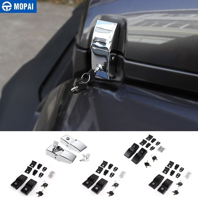 MOPAI Car Lock Hood Latch Catch With Key Kit for Jeep Wrangler 2018+ Car Engine Lock Cover for Jeep Wrangler JL Accessories
