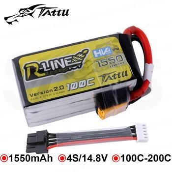 Tattu R-Line 1550mAh 100C 4S 15.2V Lipo Battery with Detachable Balance Plug for 180 210 230 Size FPV Racing Drone Master