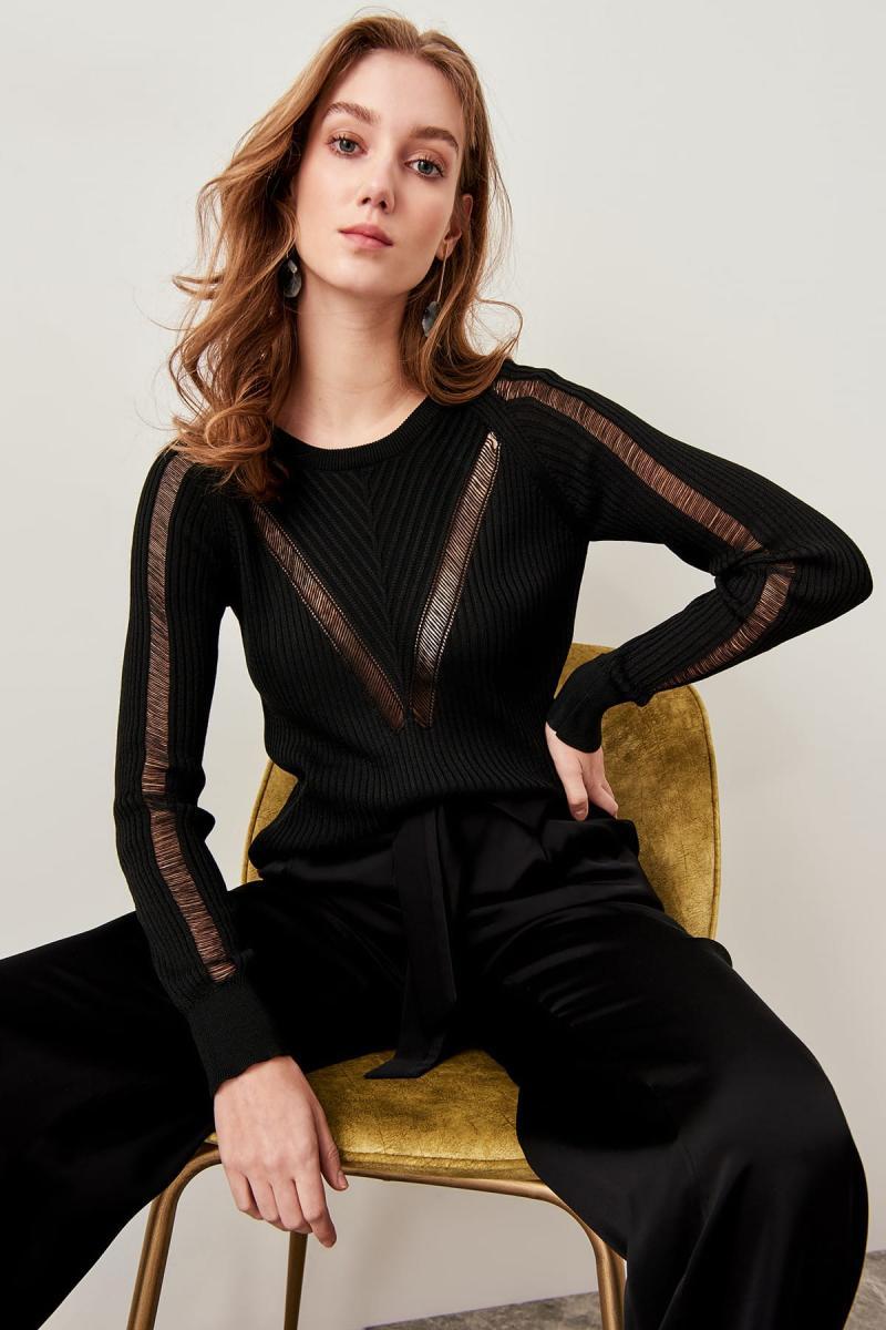 Trendyol Black Pourer Detaylı Summer Knitwear Sweater TCLSS19YP0002