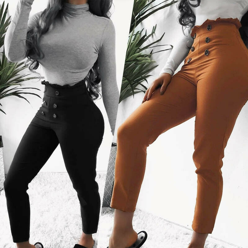 Fashion Women Plain Buttons High Waist Loose Solid Color Casual Summer Style Office Work Wear Pants Slim Trouser