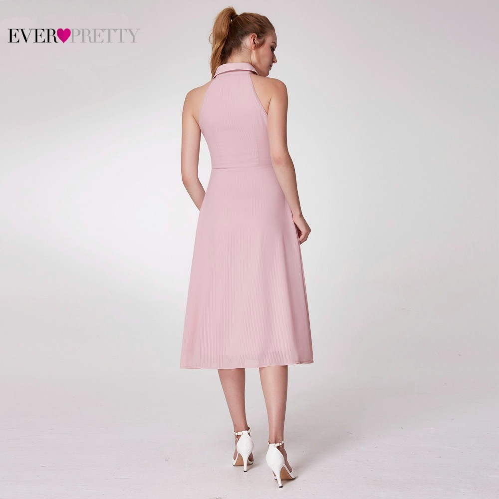 Image 3 - Pink Elegant Cocktail Dresses Ever Pretty AS07196PK A Line High Neck Casual Women Short Summer Party Dresses Robe Cocktail 2019-in Cocktail Dresses from Weddings & Events