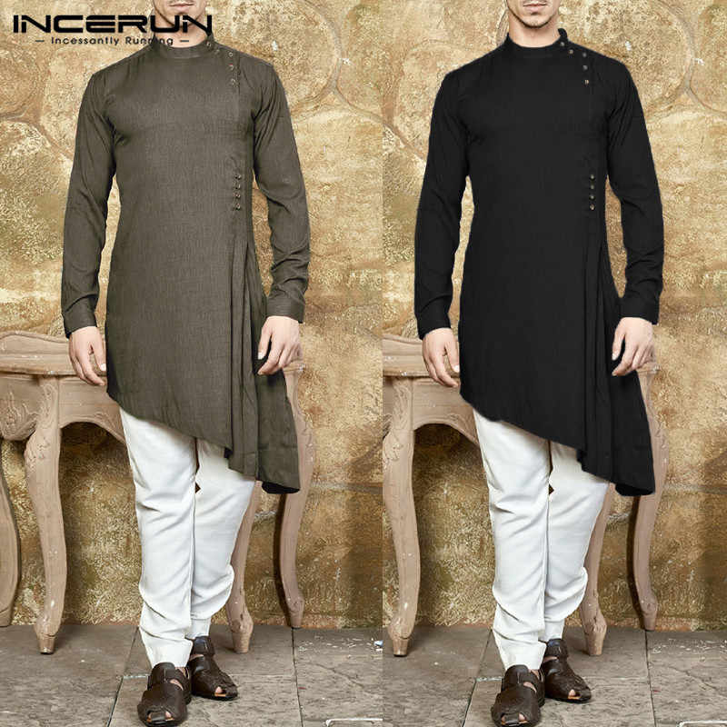 bda5f59308c7 INCERUN Stylish Mens Kurta Suit Long Sleeve Shirts Dress Muslim Men Clothing  Solid Asymmetric Hem Robe