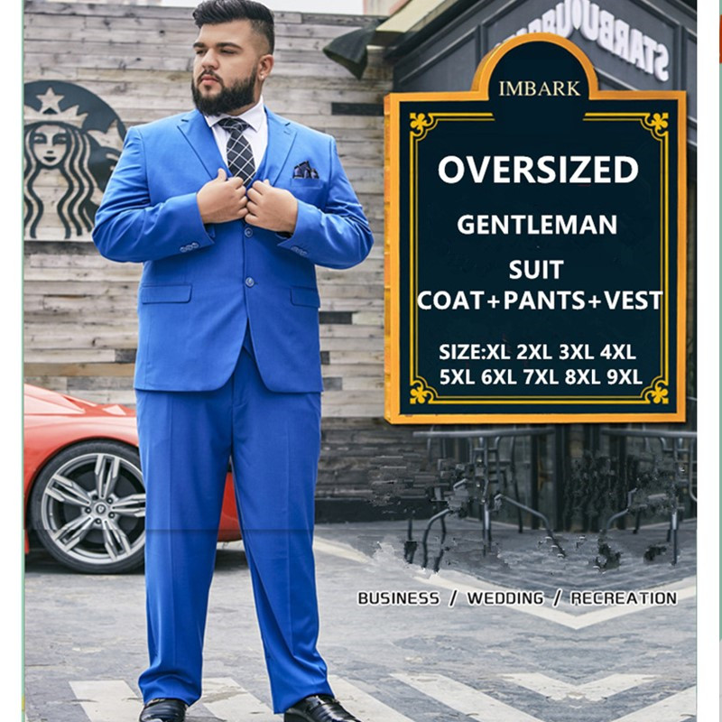 Men Suit Business 3 Piece Mens Summer Thin Groom Wedding Suits Pants Vest Blue Formal Groomsman Set Plus Size 6XL 7XL 8XL 9XL