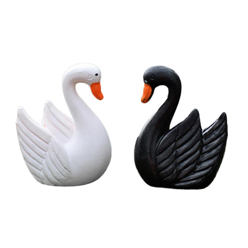 Mini Black White Swan Home Decor Miniature Fairy Garden Decoration Accessories Figurine Animal Model Statue Desk Ornament Figure