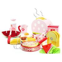 Western Style Breakfast Wooden Kitchen Play House Toy For Children Utensils Cutlery Sets Playhouse Educational Toys