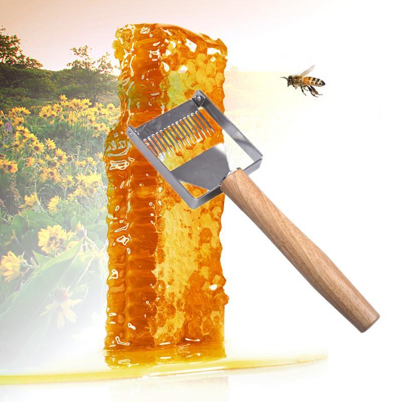 Beekeeping Tool Apiculture Equipment Uncapping fork Wooden Handle Honey Scraper