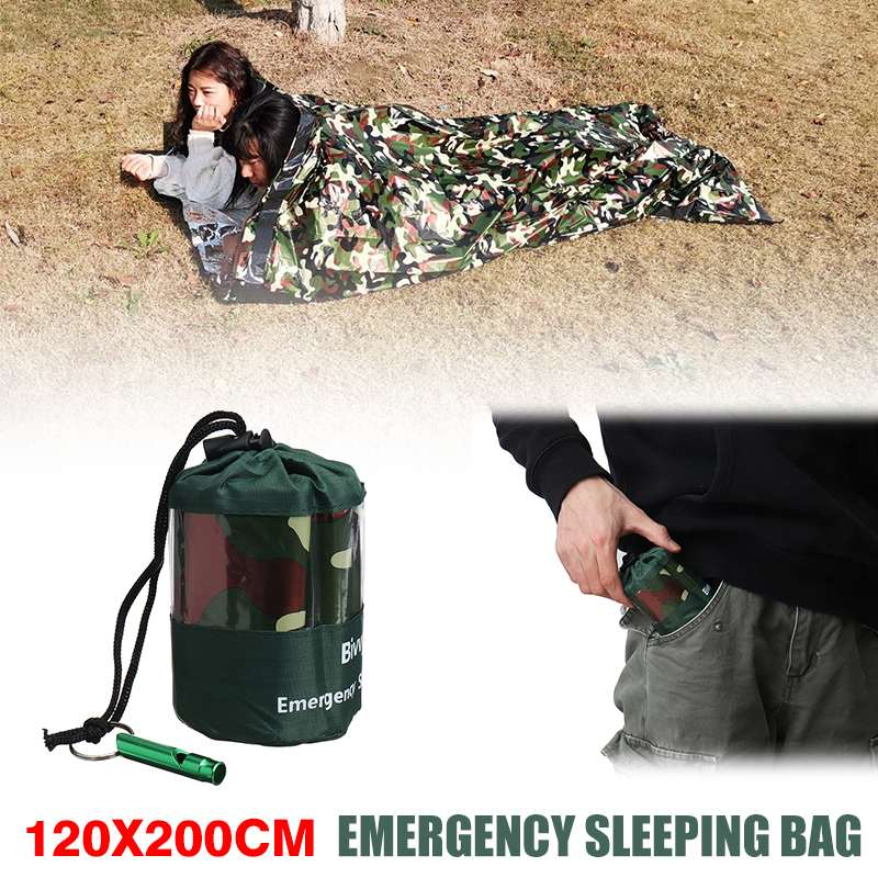 Camouflage Outdoor Waterproof Emergency Sleeping Bag Survival Rescue Thermal First Aid Blanket Camping Foil Rescue Blanket