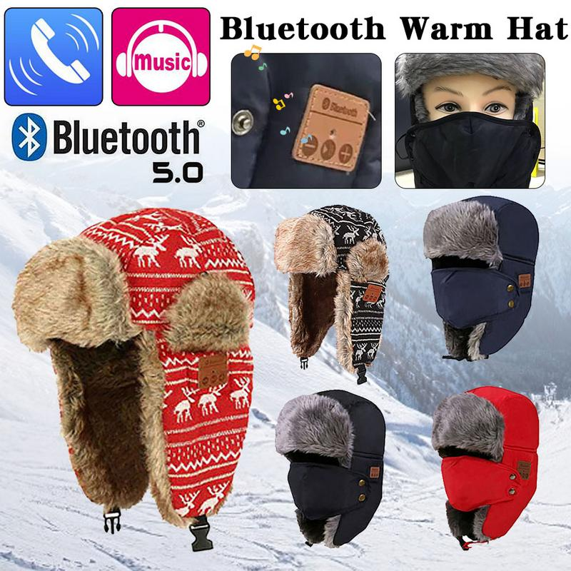 5.0 Bluetooth Bomber Hats Russian Winter Men Women Cotton Warm Hat Fur Thick Trapper Cap Outdoor Snow Earflap