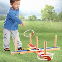 Wooden Quoits Rope Hoop Ring Toss Game Hand eye Coordination Educational Fun Toys Birthday Gift for Children Kids Toddler