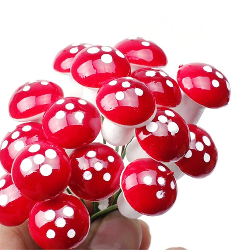 10/20pcs Mini Foam Mushroom For Garden Ornament Flower Pots Bonsai Micro Landscape Decor (Red)