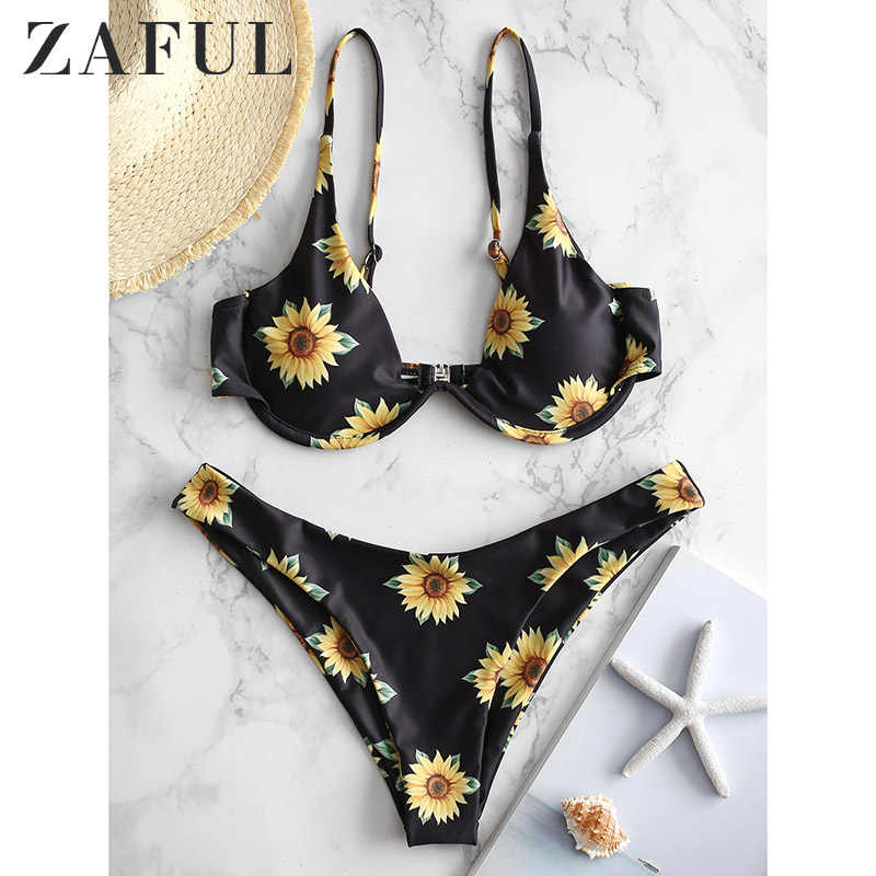 ZAFUL Sunflower Print Striped Lace-Up Reversible Bikini Set Bikinis 2019 Mujer Beachwear Swimsuit Swimwear Women'S Swimsuits