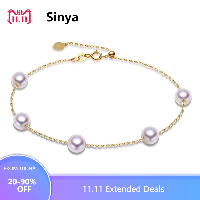 Sinya Au750 gold Bracelet Anklet with natural pearls for women girls Mom 20cm with move gold beads can adjust length gorgeous faux crystal beads anklet for women