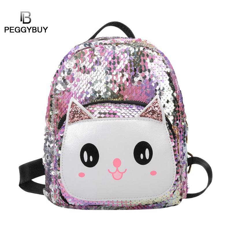 Sequins Cat Backpacks Women PU Mochila Bling Rucksack Glitter Teenager Girls Travel Shoulder Bags School Bag Sequin Bolsas MujerSequins Cat Backpacks Women PU Mochila Bling Rucksack Glitter Teenager Girls Travel Shoulder Bags School Bag Sequin Bolsas Mujer