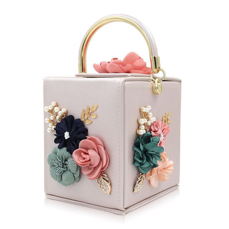 New Women Clutches Flower Clutch Bag Tote Box Clutches Purse Evening Handbag For Ladies Female Elegant Fashion Hand Bags Totes