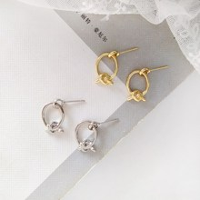 New Gold Silver Color Knotted Stud Earrings Classic Small Cute Solid Minimalist Earring Jewelry