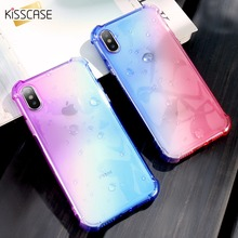 KISSCASE Gradient Color Clear Case For iPhone 7 8 Plus Soft Silicone Shockproof Phone Cases 6 6S X Capinha Coque