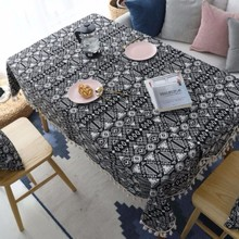 New Nordic Black Geometric Double-sided Thickening Cafe Bar Coffee Table Cloth Christmas Rectangular Tablecloth For Home Decor
