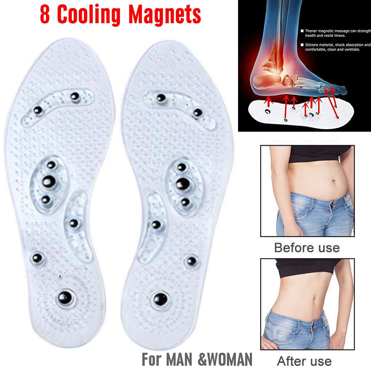 8 Magnets Acupressure Foot Massage Gel Insole Magnetic ...