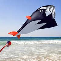cyclamen9 Huge Dolphin Kite For Kids,3D Kite Huge Frameless Soft Parafoil Giant Dolphin Breeze Kite (1.2m by 2.1m,Black)