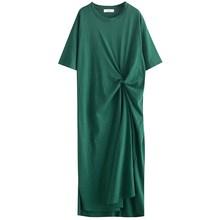 Fashion Green O Neck Short Sleeve Shirt Summer Dress Women Pleated Big Size Loose