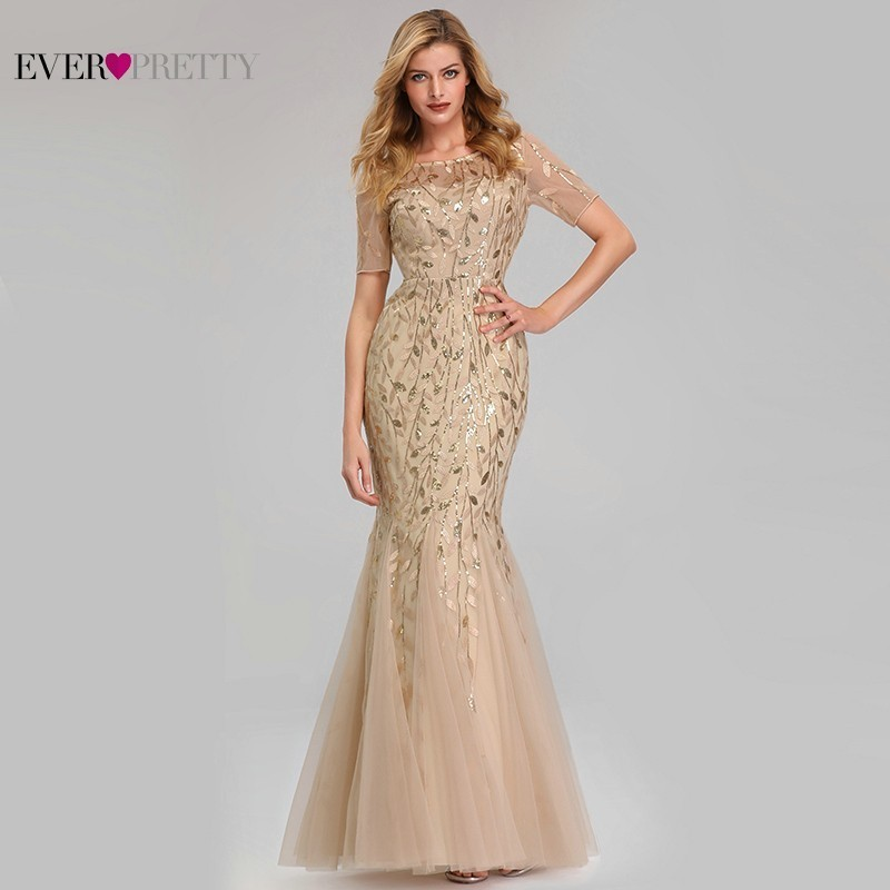 Elegant Lace Prom Dresses Long Ever Pretty Sequined Mermaid Saudi Arabian Clothing 2019 Sexy Gold Formal Evening Party Gowns
