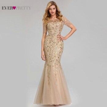 dccbbafd4 Elegante vestido de encaje vestidos largos de baile bonito lentejuelas  sirena Arabia Saudita ropa 2019 oro Sexy de noche Formal vestidos fiesta