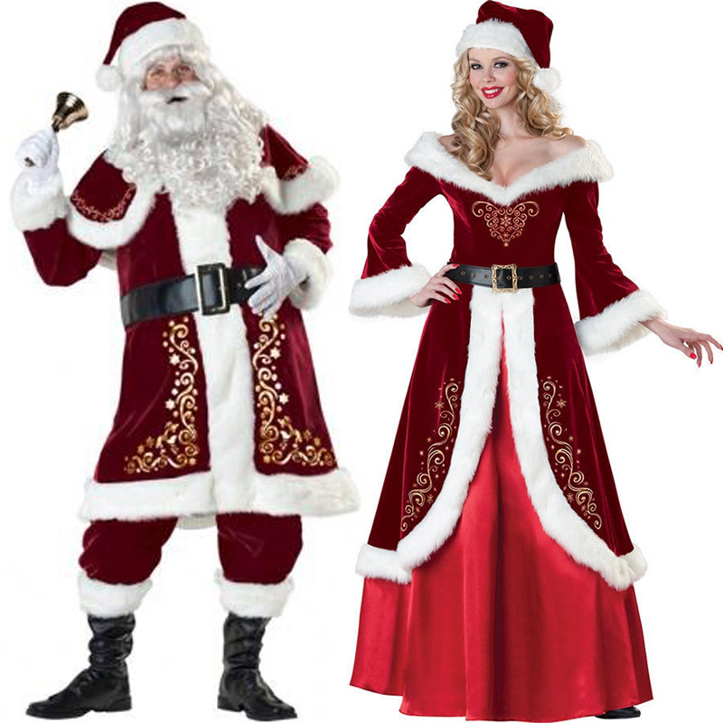 Red Couple Christmas Costume Santa Claus Fancy Dress