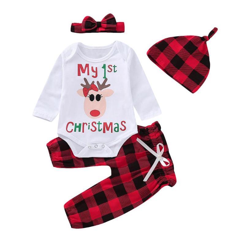 UK Christmas Newborn Baby Girl Xmas Plaid Bowknot Romper Dress Party Clothes Set