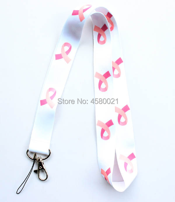 Pink Ribbon Breast Cancer Awareness Neck Lanyard ID Holder Keyring