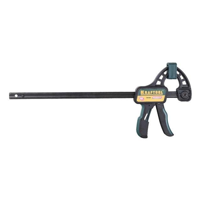 Струбцина универсальная быстрозажимная KRAFTOOL 32226-30 (Длина захвата 300мм, длина разжатия 500 мм, прижимное усилие 150 кг, пистолетный механизм, пластиковые накладки на губках)