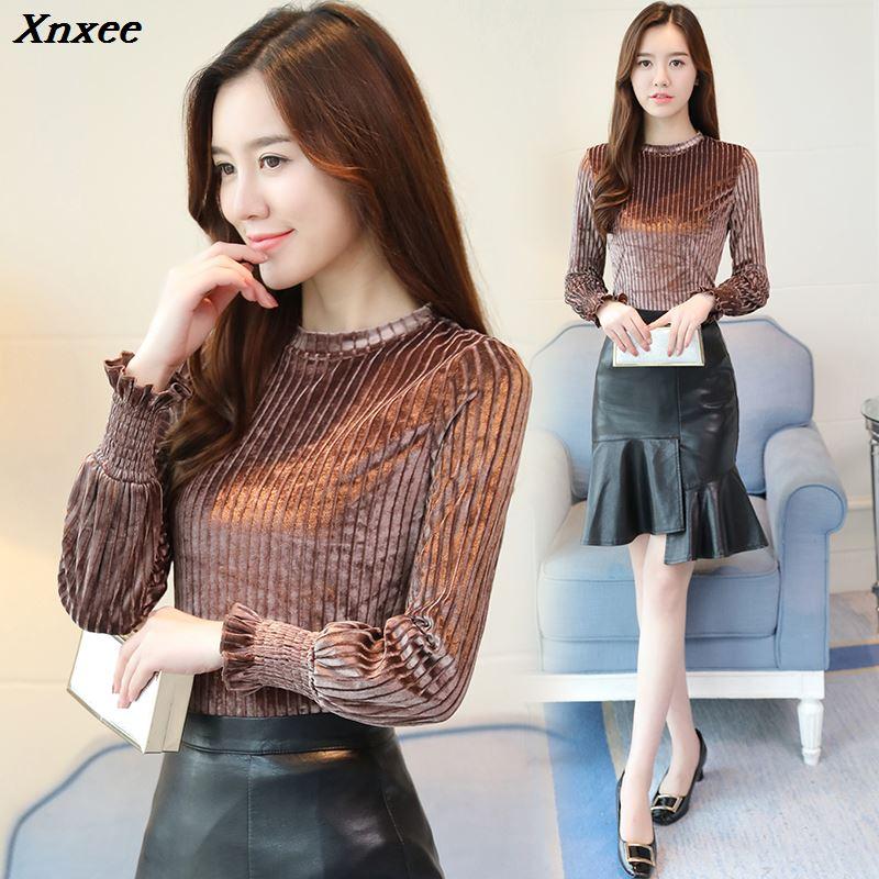 new fashion women tops and blouses 2019 long sleeve velour women blouse shirt plus size 3XL shirt women blusas feminina Xnxee
