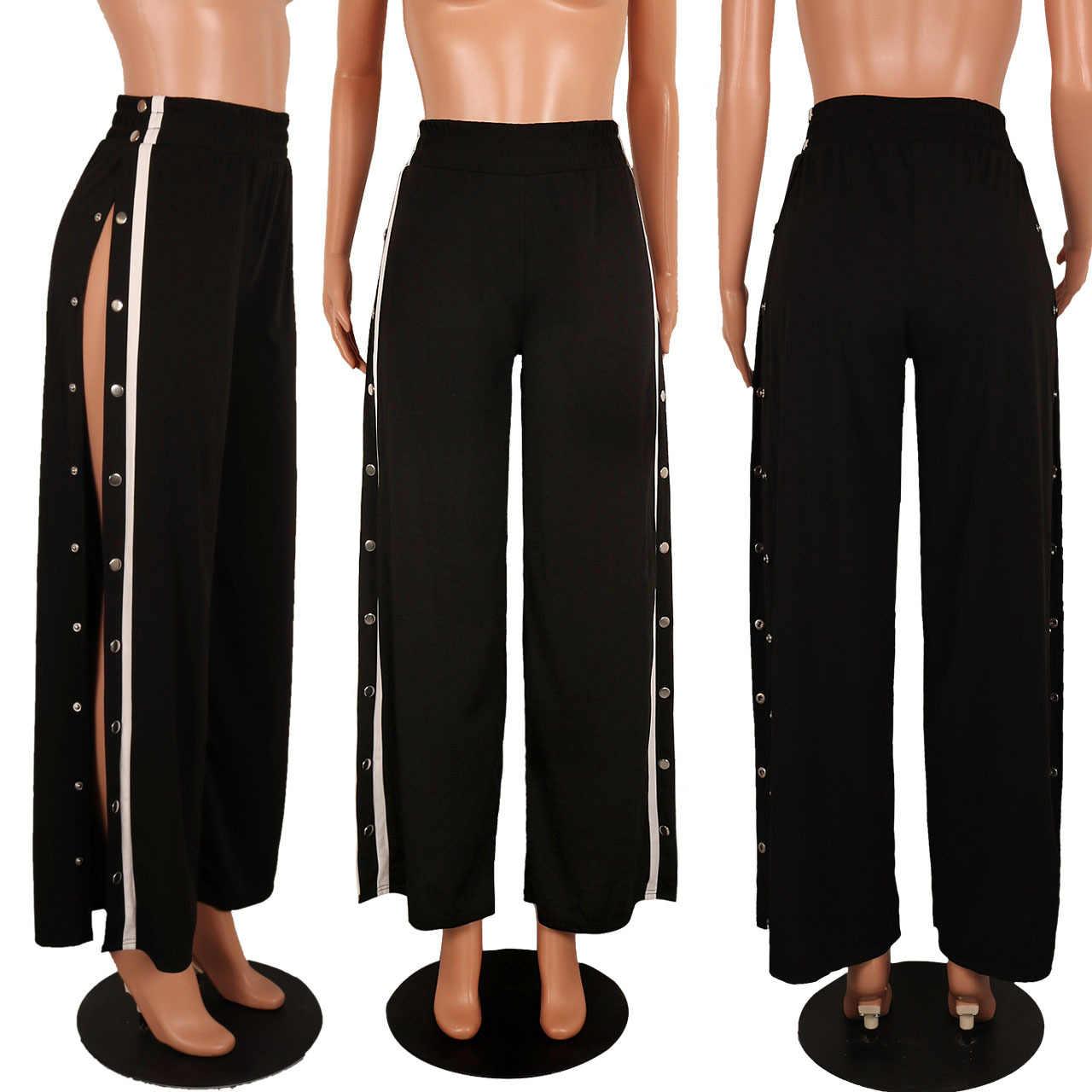 Beauty fashion rivet buckle striped split casual pants