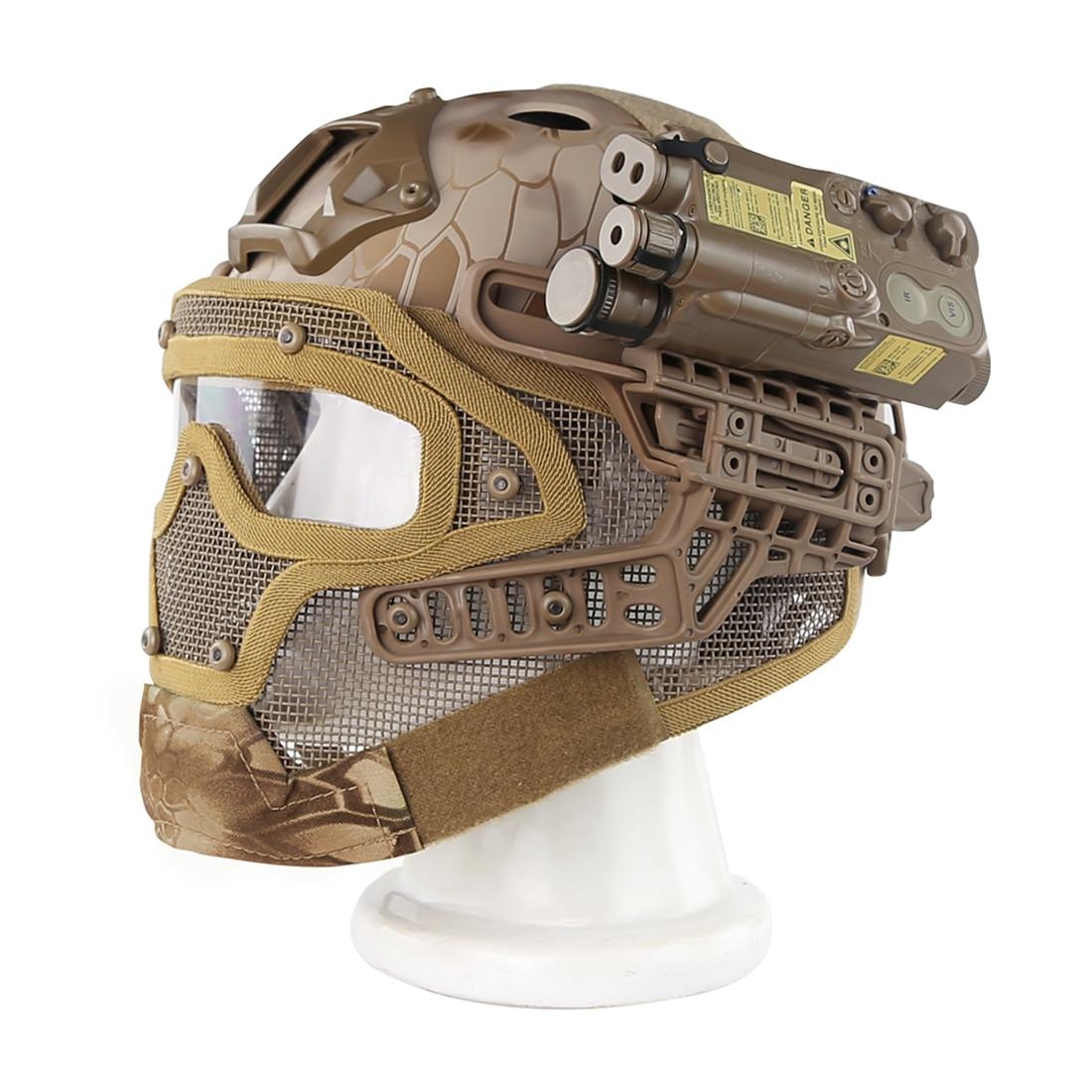 WST acier fil de protection rapide Paintball masque casque costume pour activité de plein air Paintball accessoires-désert Python Grain - 2