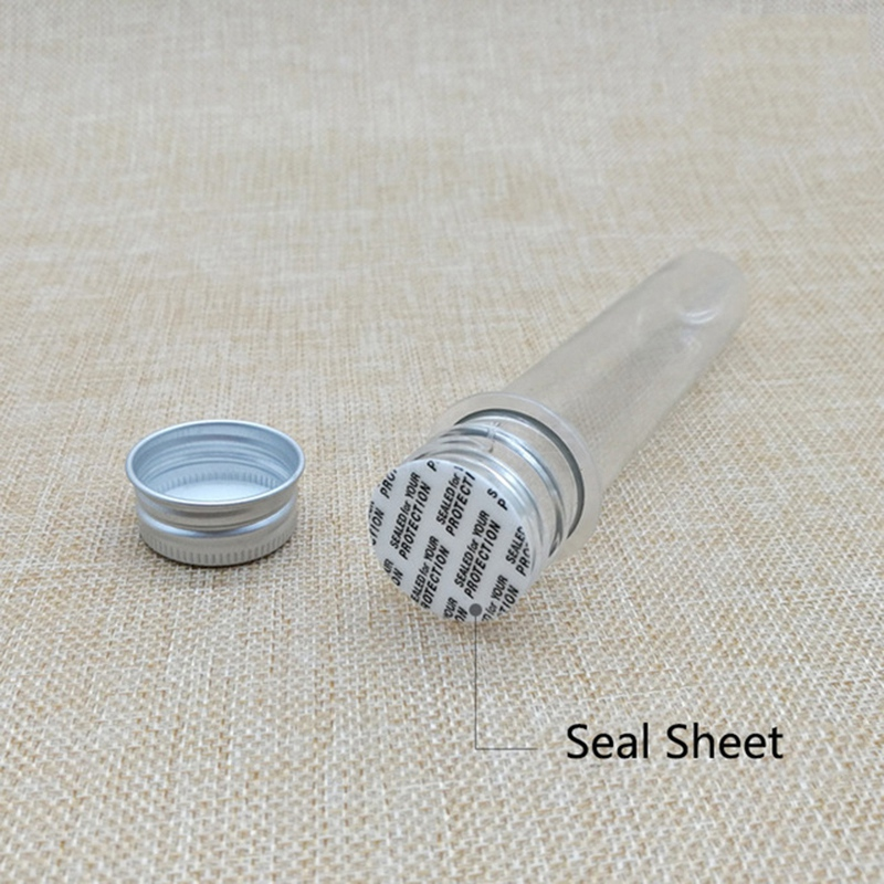 Image 5 - 50Pcs 40Ml Plastic Test Tube With Screw Cap Bottle Aluminum Cap Packing Tube With Pressure Sensitive Seal Candy Capsule 5.6IncTest Tube   -