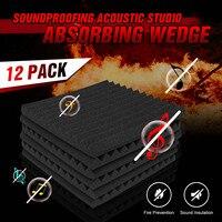 12Pcs 12 x 12 Wedge Acoustic Studio Sponge Soundproofing Foam Wall Tiles Sound Insulation Reduce Noise Sponge Foam