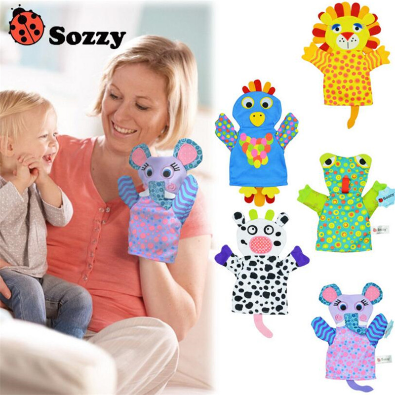 Sozzy Baby Hand Puppet Toy Speelgoed Animal Blue Soft Toys for Newborns Lovely Lion Frog Cows Parrot Elephant