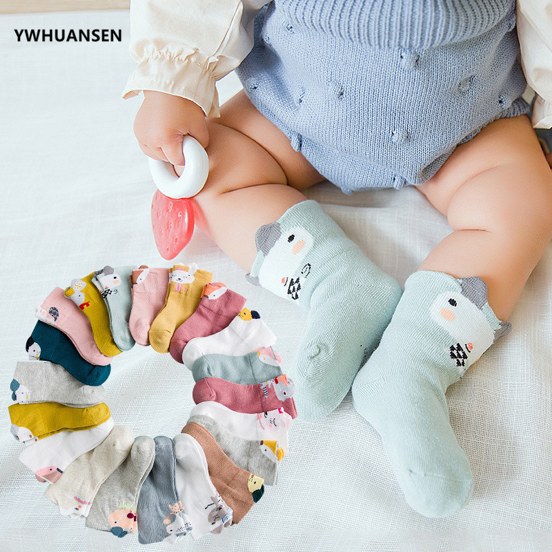 YWHUANSEN 5 Pairs/lot Four Seasons Cartoon Socks Baby Girl Animal Ear Cotton Kids Socks On The Boy Boneless Suture Short Socks