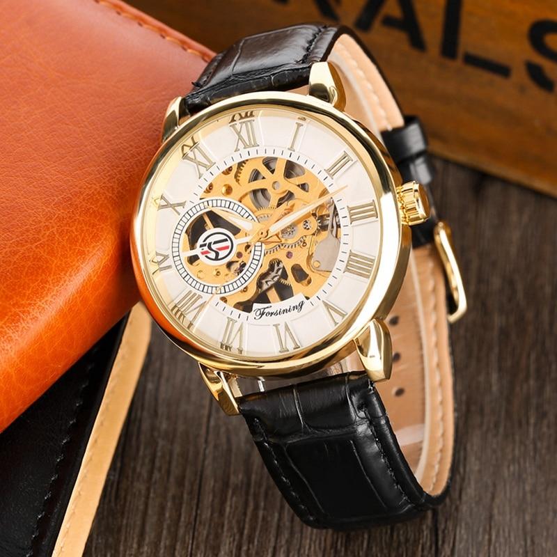 591491a83da8 FORSINING superior hueco lujo esqueleto mano viento hombre reloj de oro  esqueleto Dial pantalla militar mecánico de los hombres relojes de pulsera  2019