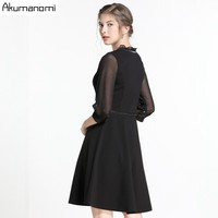 Three Quarter Sleeve Black A Line Work Dresses Ladies Contrast Mesh Tiered Layer Women Elegant Knee Length Dress Plus Size