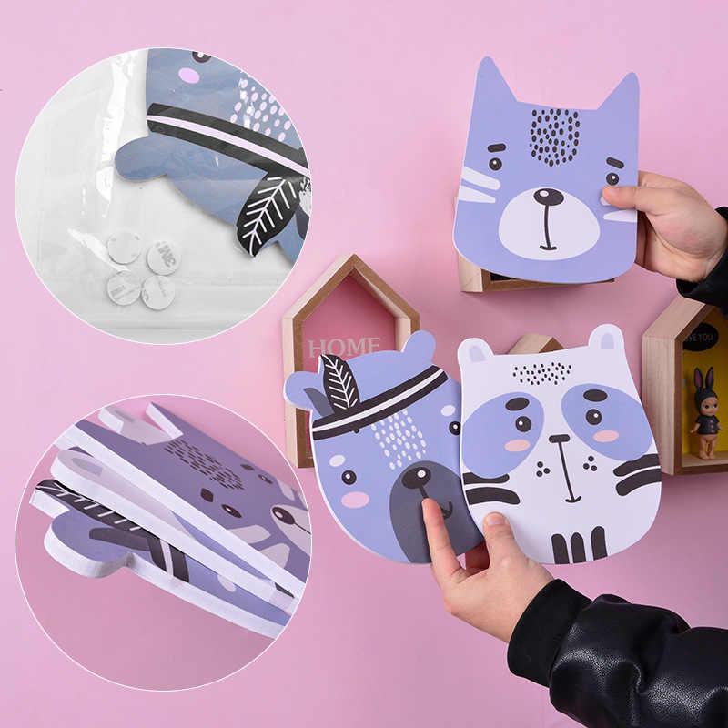 3 шт./лот, скандинавский стиль, 3d деревянная Наклейка на стену, мультяшная собака, тигр, медведь, енот, лесные животные, украшение для детской комнаты