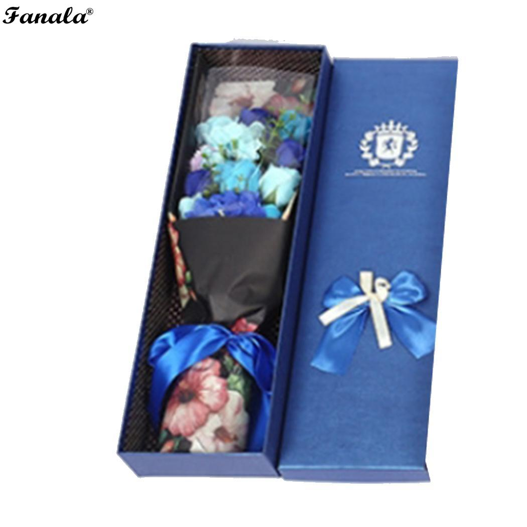 Creative Artificial Rose Soap Flowers with Boxes Modern Home Decor Romantic Pink, Blue, Red, Purple Gift