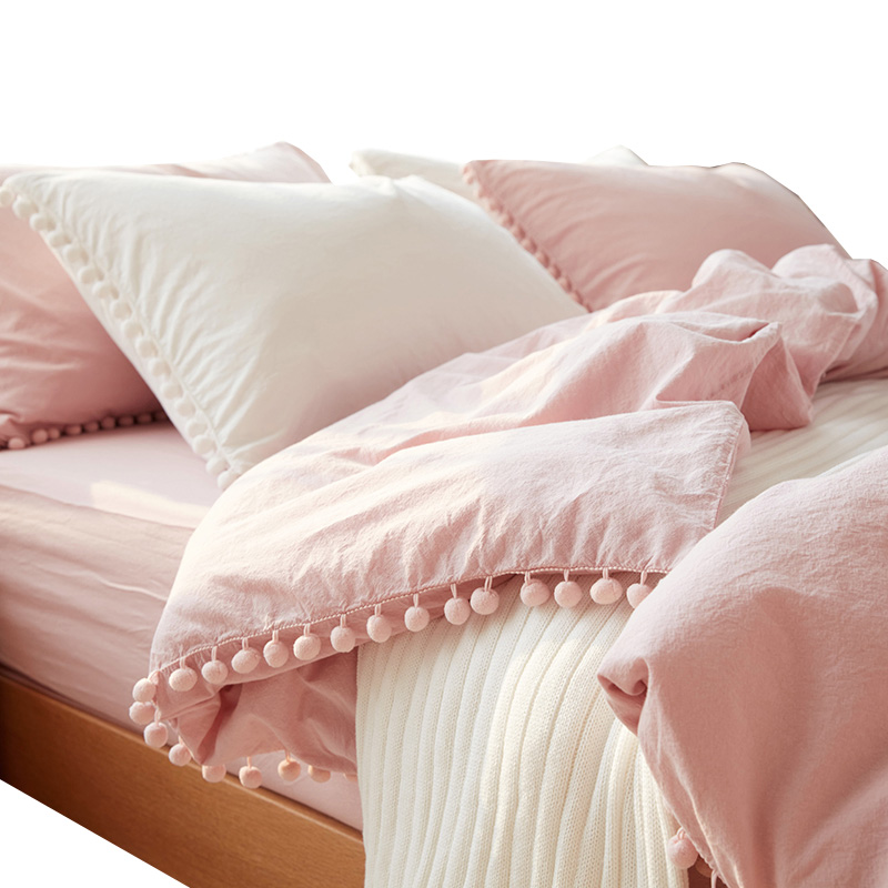 2/3pc Pink Princess Bedding Sets with Washed Ball Decorative Microfiber Fabric Queen King Duvet Cover Pillowcase Comfortable 402/3pc Pink Princess Bedding Sets with Washed Ball Decorative Microfiber Fabric Queen King Duvet Cover Pillowcase Comfortable 40