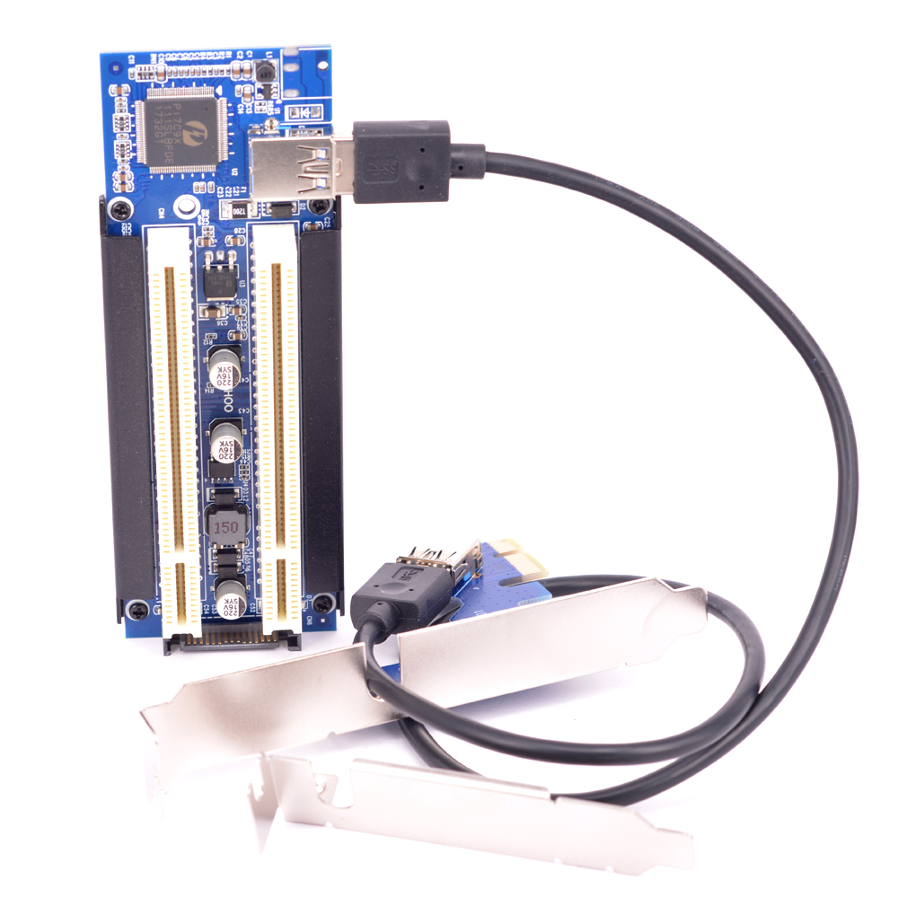 Free shipping Converter <font><b>PCIe</b></font> <font><b>x1</b></font> x4 x8 x16 to Dual PCI slots adapter, pci express to 2 pci card image